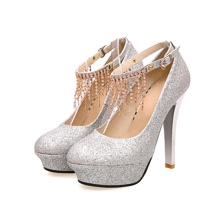 Silver Heels With Ankle Strap - Qu Heel