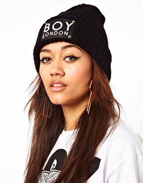 BOY London | Boy London Patch Beanie Hat at ASOS