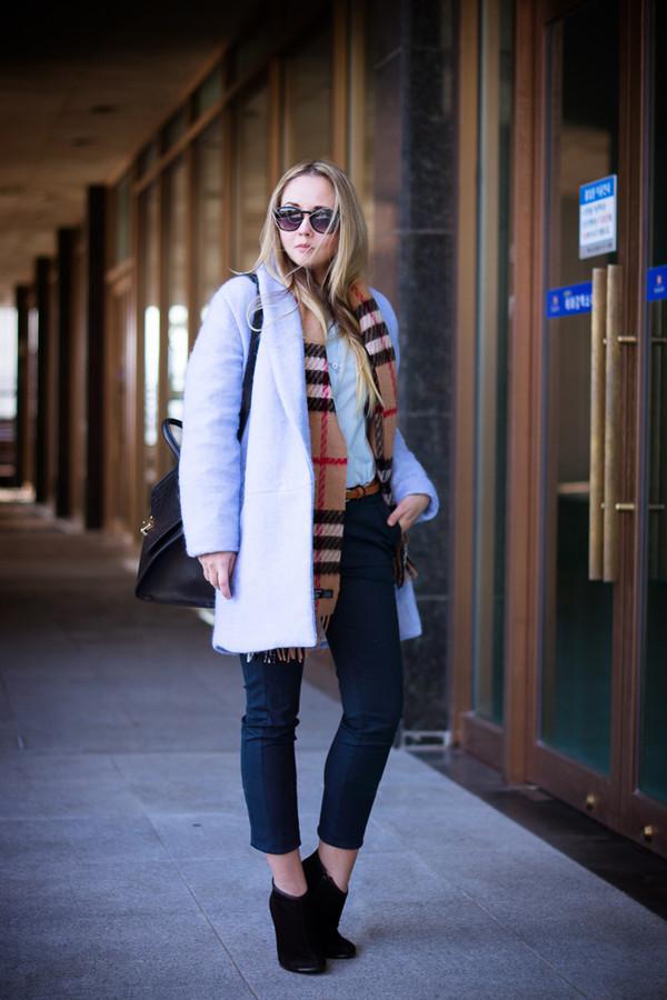 my blonde gal coat bag scarf jewels shoes belt sunglasses