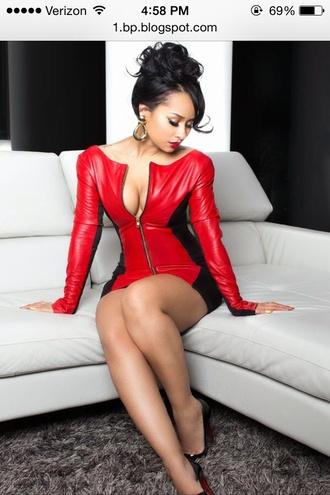 tammy rivera zip-up red dress