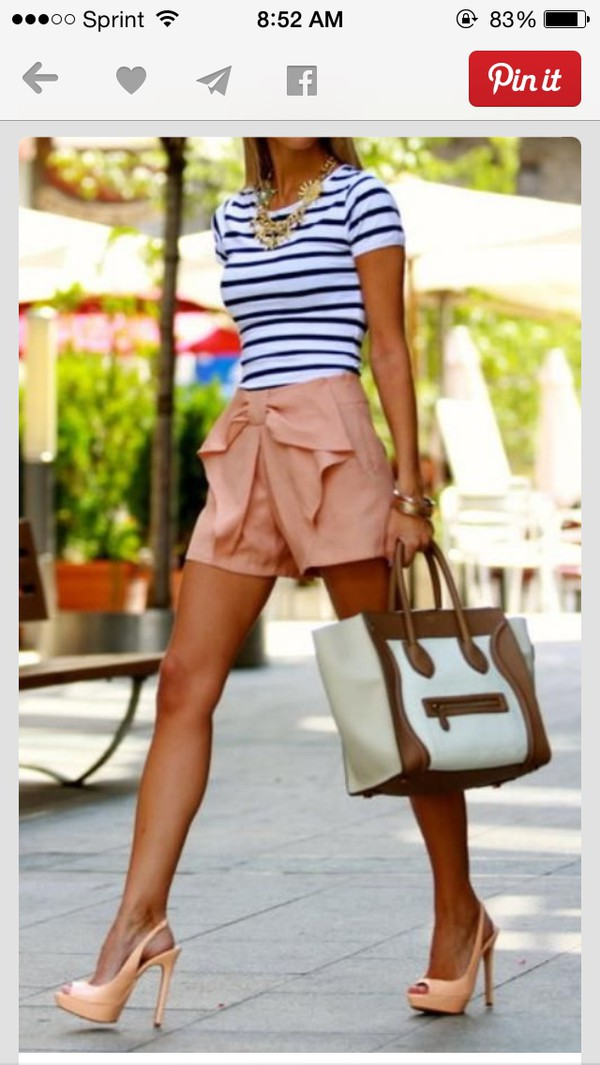 shorts pink with bow front shoes