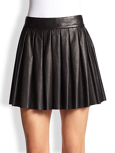Alice   Olivia - Pleated Leather Skirt - Saks.com