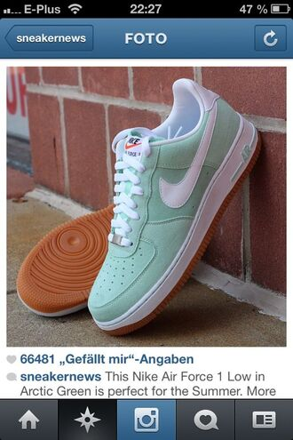 shoes low green shoes nike air force 1 mint green shoes
