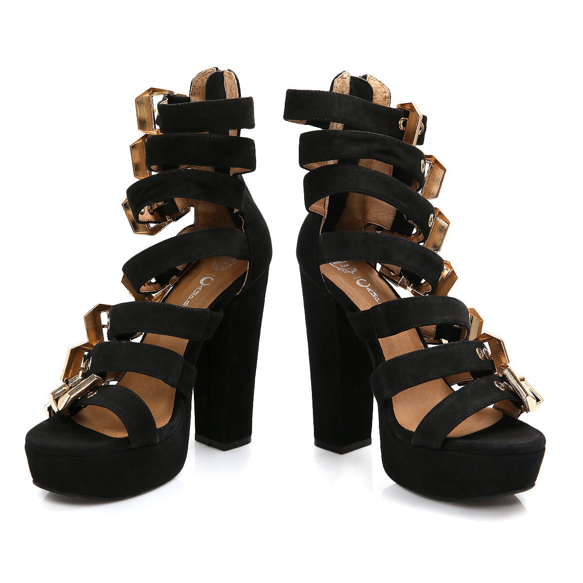 Jeffrey Campbell Donata Black Suede High Heels Gold Buckle Shoes Size 3 8   eBay