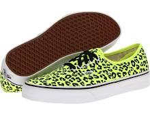 Vans Authentic Skate Shoes (Neon Leopard) Yellow/Black : Men's 8 - Women's 9.5 Medium