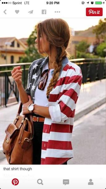 shirt black shorts colorful purse american flag shirt american flag white crop tops july 4th watch sunglasses