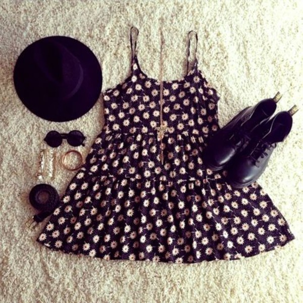 dress clothes hat sunglasses jewelry belt DrMartens flowers shoes jewels