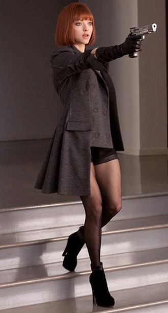 boots heels grey coat amanda seyfried charcoal shoes