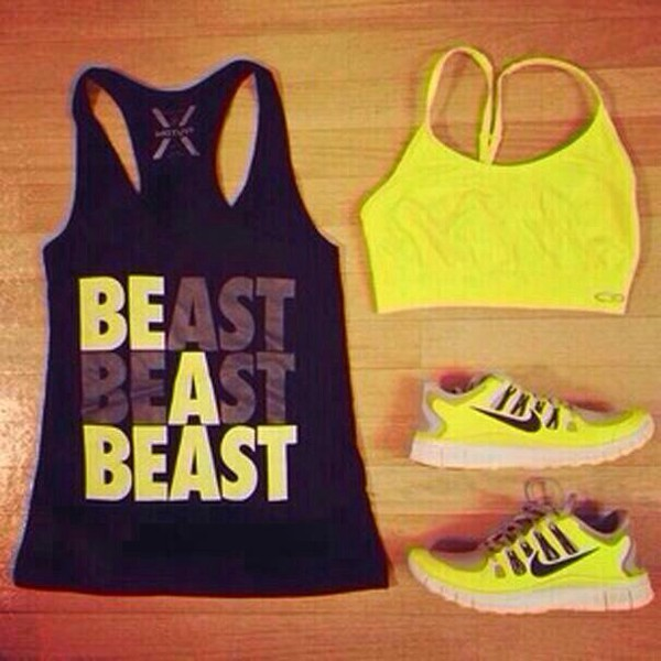 nike yellow black beast sneakers shoes sportswear tank top sports bra running sneakers bright sneakers t-shirt workout top fitness fashion neon