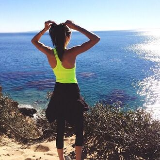 neon yellow workout top kendall jenner yellow racerback tanktop racerback neon fitness bright yellow