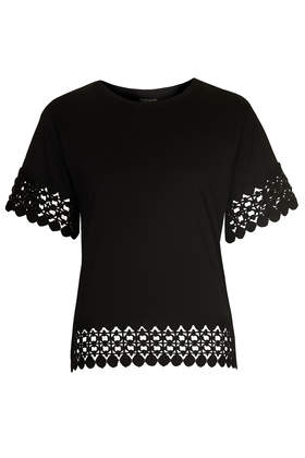 Lace Panel Tee - Tops - Clothing - Topshop USA