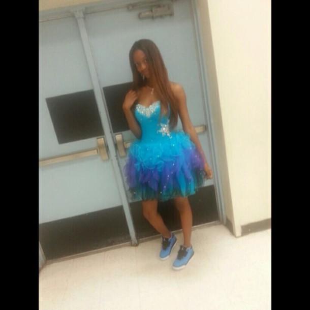 dress blue dress purple dress gradient dress jordans shoes