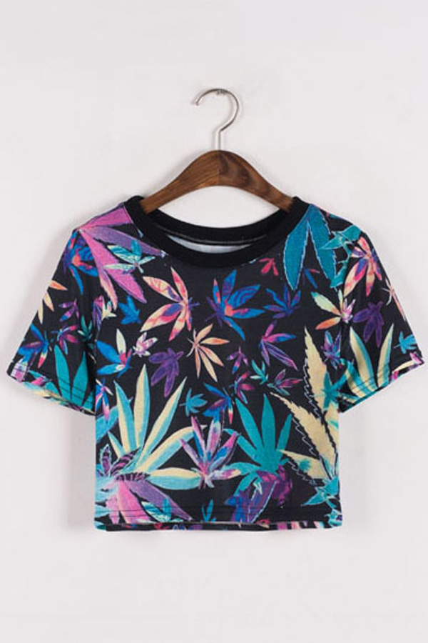 Cropped Colorful Leaves Print T-shirt - OASAP.com