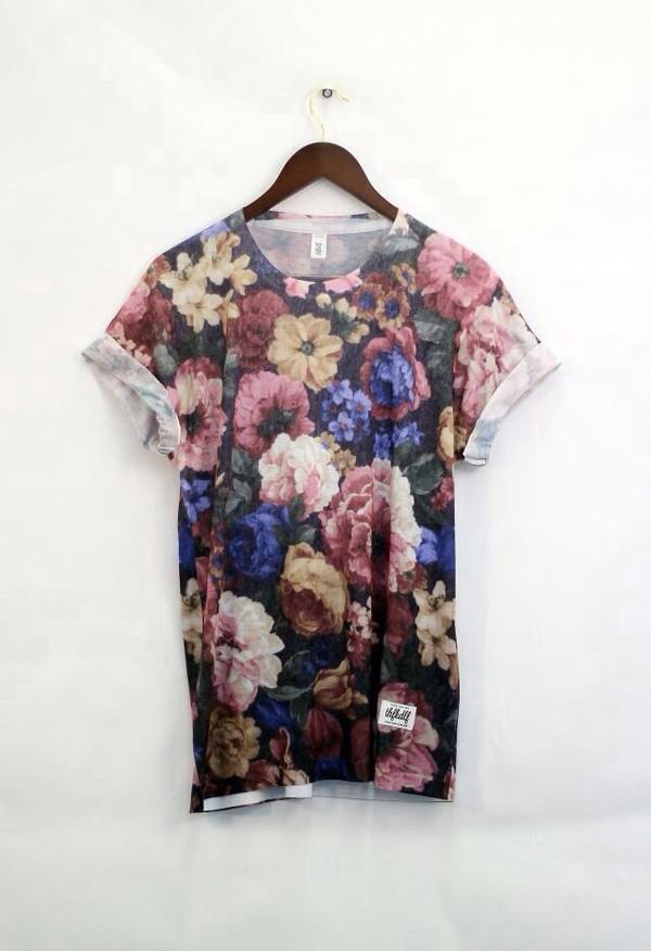 t-shirt dress oversized t-shirt t-shirt loose tshirt oversized t-shirt t-shirt dress floral floral t shirt cute dress tumblr shirt flowers cute sleeves exact brown t-shirt floral