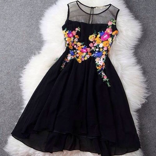 dress black dress floral floral embroidery floral embellishment little black dress