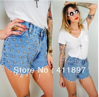 24 HOT Metallic Punk High Waisted Grey brads Rivet studs Jeans Denim frayed Shorts Pants Free Shipping-in Jeans from Apparel & Accessories on Aliexpress.com