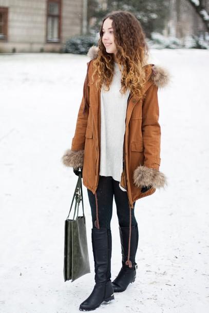 kolorowa dusza blogger bag winter coat black boots