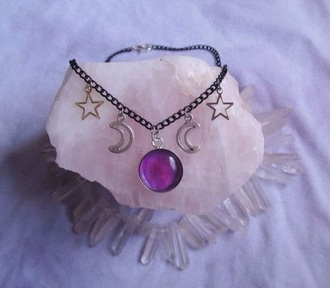 jewels necklace moon stars nebula purple black choker necklace nice cute