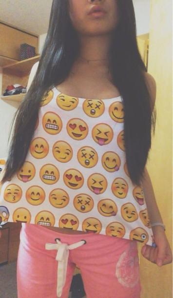 shirt emoji print tank top crop tops