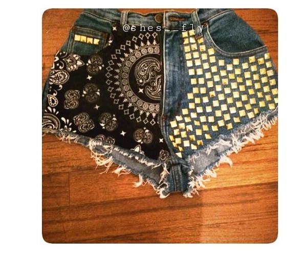 bandana print bandana bandana shorts studded shorts studded shorts High waisted shorts high waisted