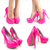 Neon Hot Pink Round Toe Patent Leather High Heel Platform Stiletto Pumps Sandals | eBay