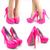 Neon Hot Pink Round Toe Patent Leather High Heel Platform Stiletto Pumps Sandals | eBay