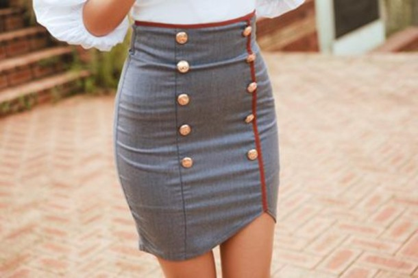 nautical skirt grey skirt gold buttons tight red grey buttons double breasted mini