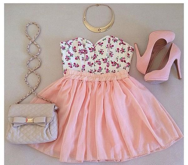 blouse floral top pink skirt shoulder bag high heels skirt bag shoes