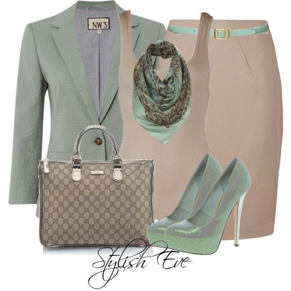 scarf blazer heels pencil skirt belt