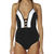 SURFSTITCH - WOMENS - BOUTIQUE COLLECTION - SWIMWEAR - JETS CLASSIQUE PLUNGE V NECK CONTRAST PANELLED ONE PIECE - BLACK WHITE