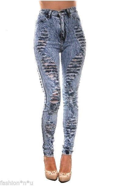 New Mineral Acid Wash High Waist Distressed Ripped Skinny Denim Pant Jeans 3 25 | eBay
