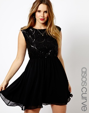 ASOS Curve | ASOS CURVE Exclusive Skater Dress With Deco Sequin Top at ASOS