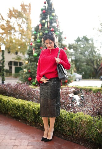thesweetestthing blogger sweater skirt shoes sunglasses jewels bag winter outfits red sweater midi skirt high heel pumps pumps h&m nordstrom louboutin j crew chanel bag
