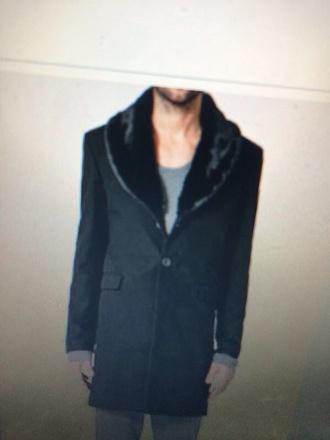 coat black coat fur trim mens coat