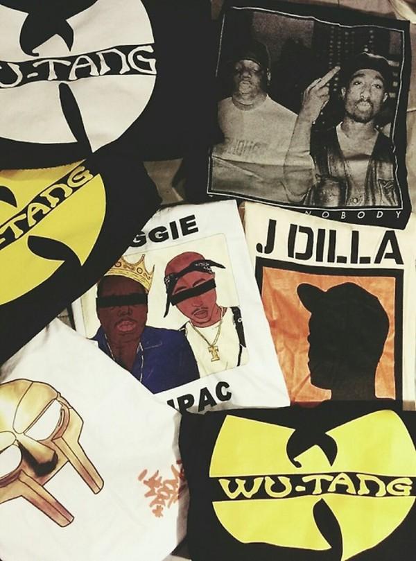 shirt tupac tupac biggie biggie smalls wu-tang clan wu-tang clan wu-tang clan t-shirt the notorious b.i.g. notorious big urban street swag tupac shirt wu-tang clan