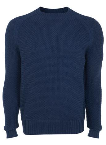 Blue Textured Crew Neck Jumper - Mens Knitwear  - Clothing  - Burton