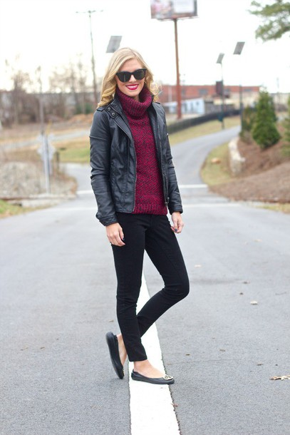 life with emily blogger ballet flats turtleneck faux leather