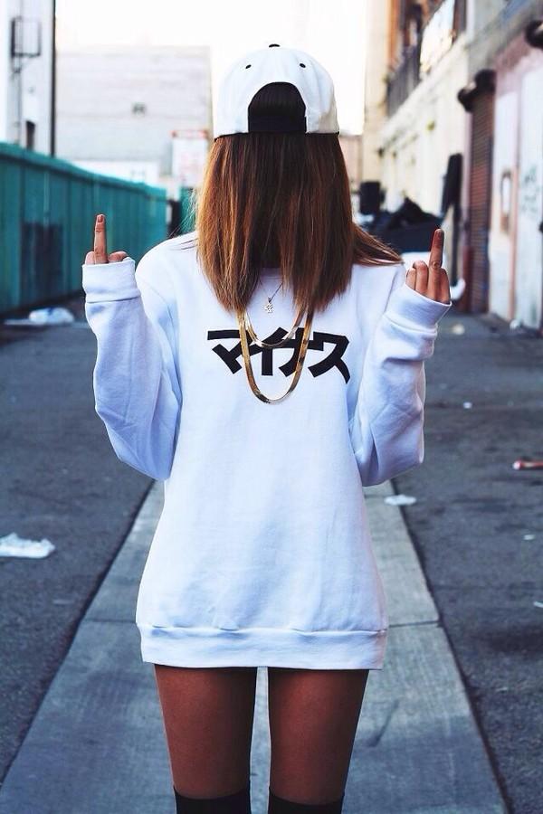 sweater asian asian design asian white white sweater t-shirt sweatshirt hipster snapback jewels necklace gold chain gold chain gold necklace tumblr swag hat