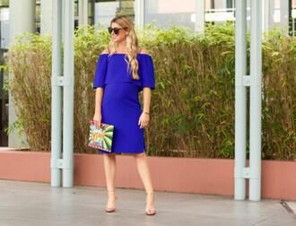 ashn'fashn blogger sunglasses jewels dress bag shoes off the shoulder dress blue dress clutch