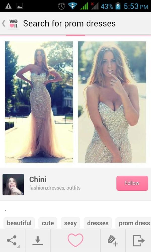 dress nude prom dress mermaid prom dress