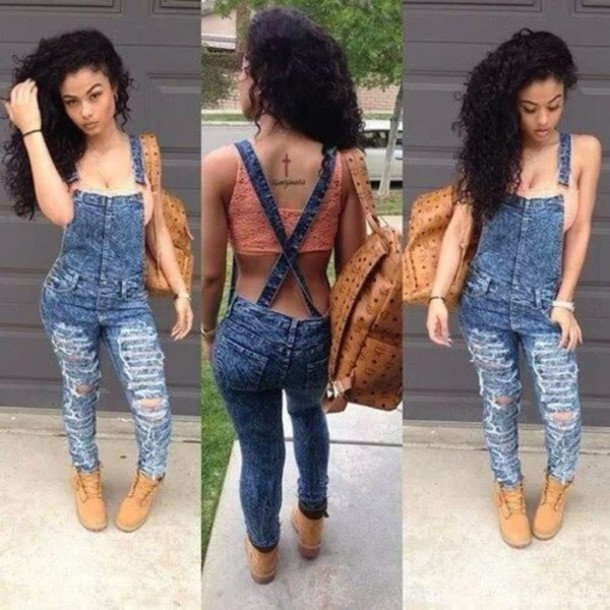 jumpsuit overalls ripped bralette