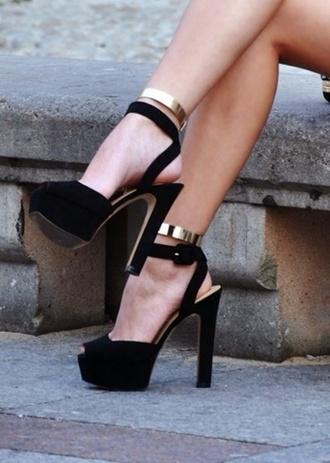 shoes black heels black  high heels golden belt