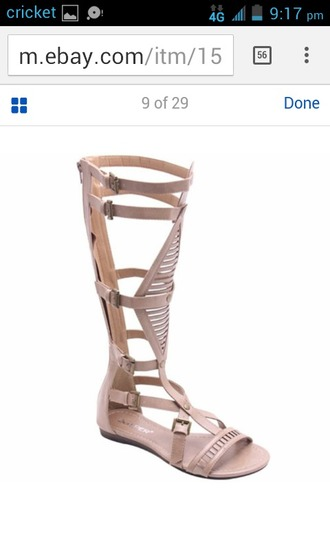 shoes knee high gladiator sandals nude strappy shoes