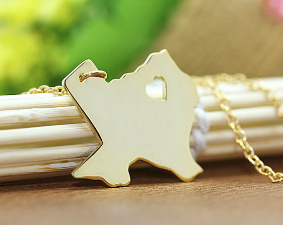 Texas Necklace  Texas Pendant  I heart State by diyjewerly on Etsy