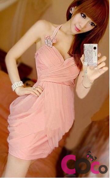 Pink Elastic Cotton Princess Prom Dress
