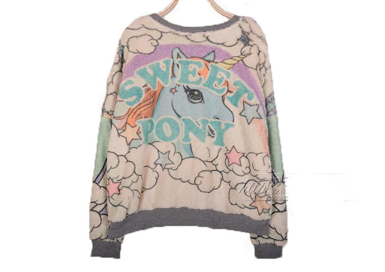 Magical Fantasy My Little Pony Unicorn Rabbit Crayon Pullover Jumper Top Sweater | eBay