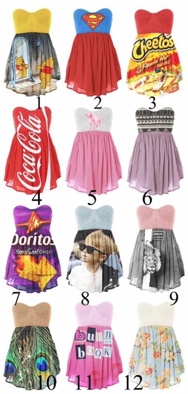 dress dress short dress coca cola superman disney cheetos winnie the pooh bag