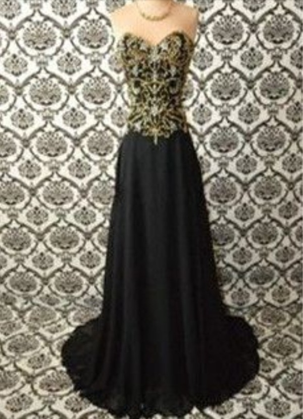 dress prom dress long prom dress strapless dress black and gold