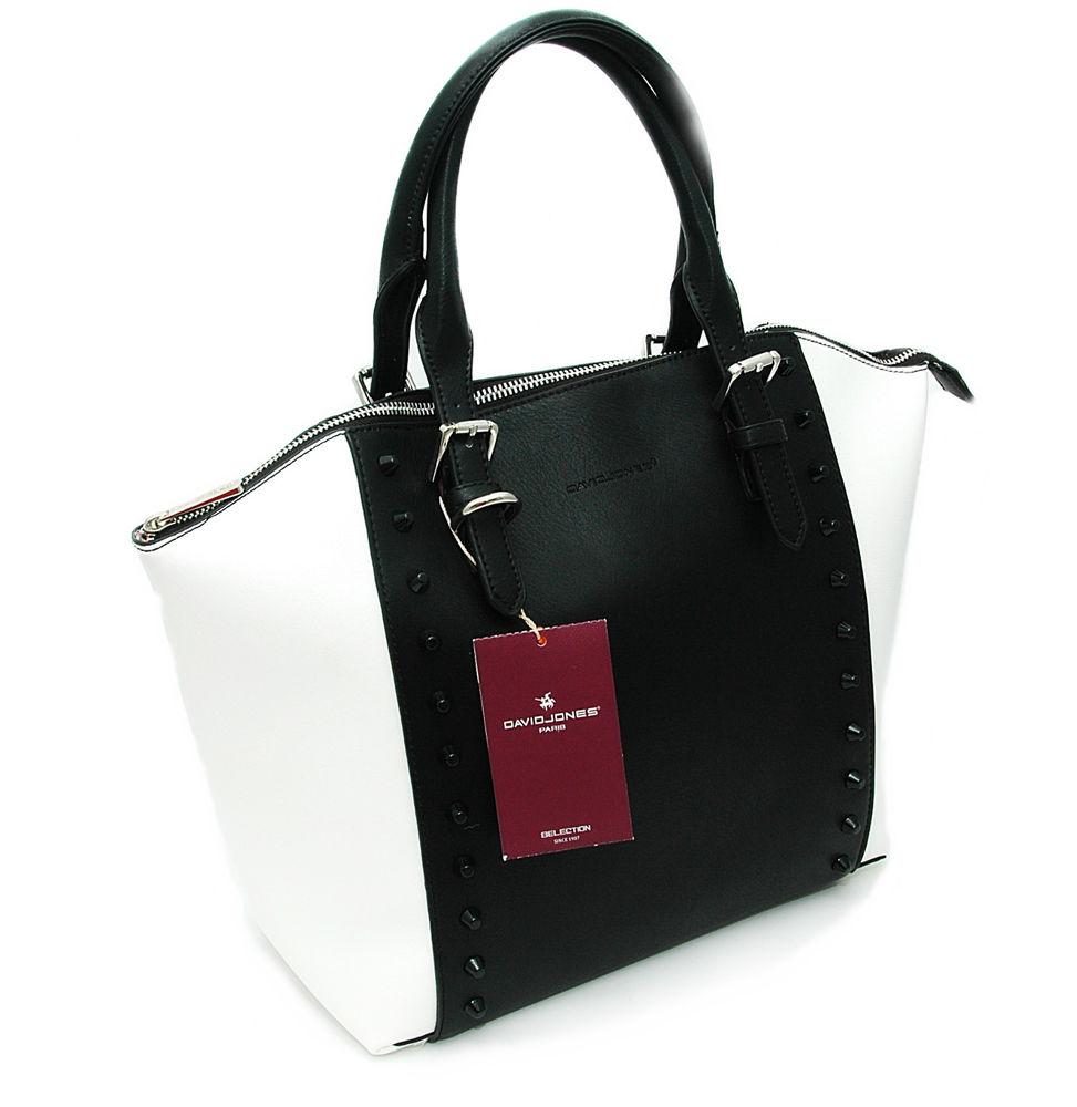 DAVID JONES© Damen Sommer Handtasche in Schwarz Weiß Nieten Shopper mit Riemen | eBay