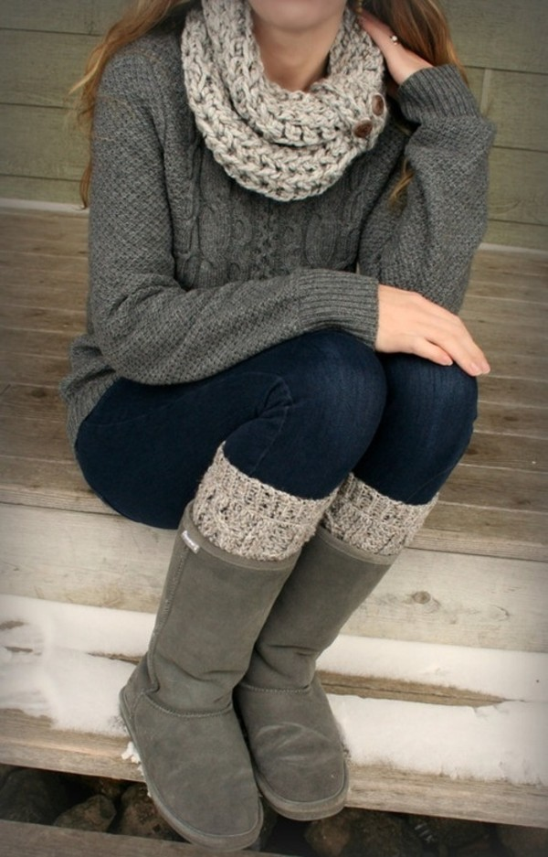 sweater boots leg warmers jeans scarf gray boots knitted scarf underwear shoes